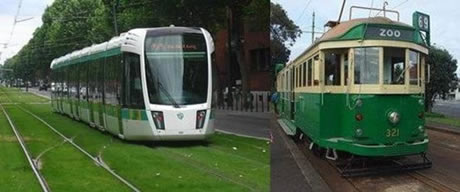 Modern and heritage trams